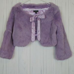 Bebe Purple Rabbit Fur Cropped Bolero Jacket